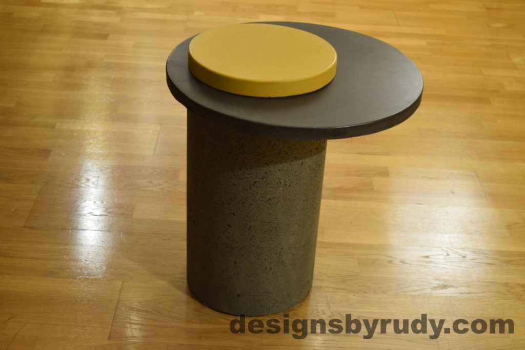 Gray Concrete Side Table, Charcoal Top and Yellow Cap, Pillars model, Designs by Rudy L