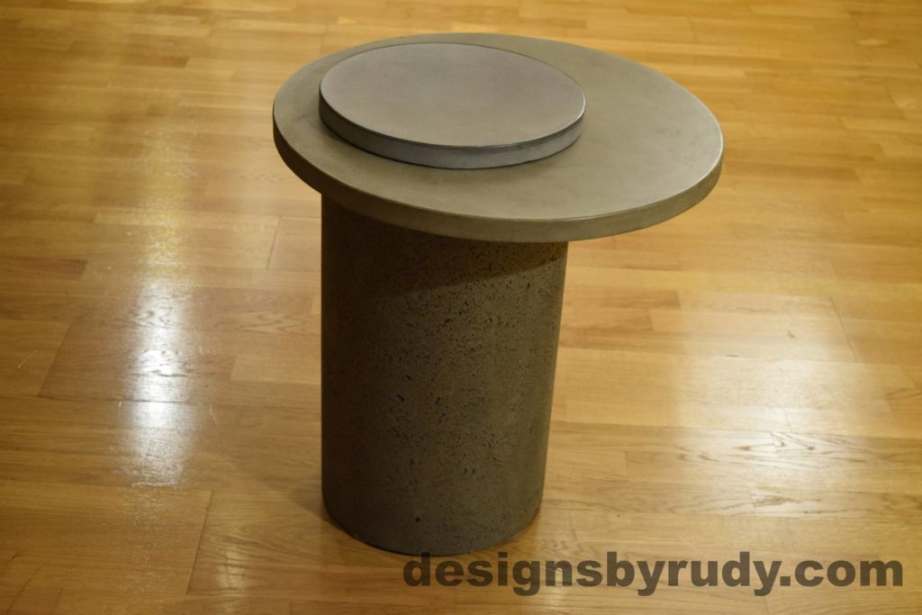 Gray Concrete Side Table, Gray Top and Cap, Pillars model, Designs by Rudy L