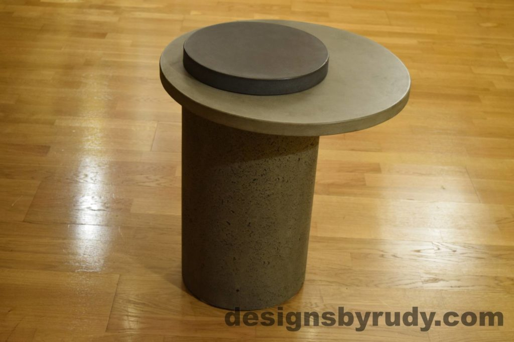 Gray Concrete Side Table, Gray Top and Charcoal Cap, Pillars model, Designs by Rudy L