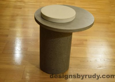 Gray Concrete Side Table, Gray Top and White Cap, Pillars model, Designs by Rudy L