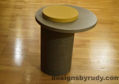 Gray Concrete Side Table, Gray Top and Yellow Cap, Pillars model, Designs by Rudy L