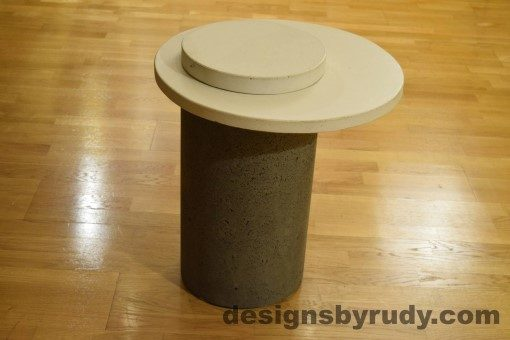 Gray Concrete Side Table, White Top and Cap, Pillars model, Designs by Rudy