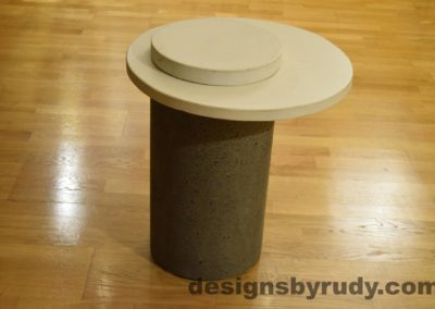 Gray Concrete Side Table, White Top and Cap, Pillars model, Designs by Rudy L