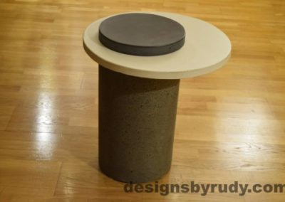 Gray Concrete Side Table, White Top and Charcoal Cap, Pillars model, Designs by Rudy