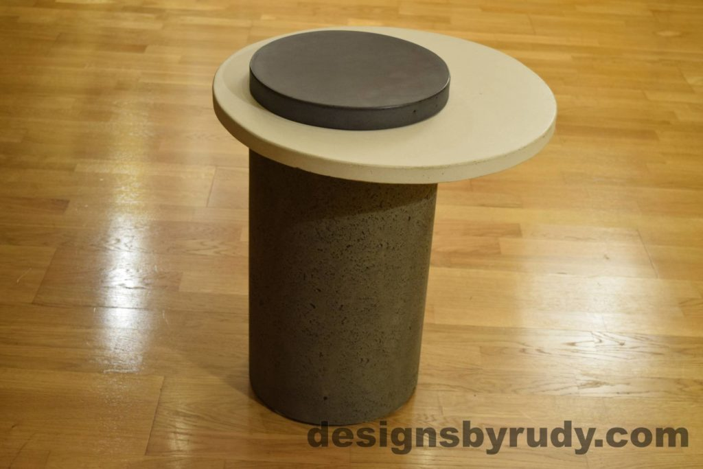 Gray Concrete Side Table, White Top and Charcoal Cap, Pillars model, Designs by Rudy L