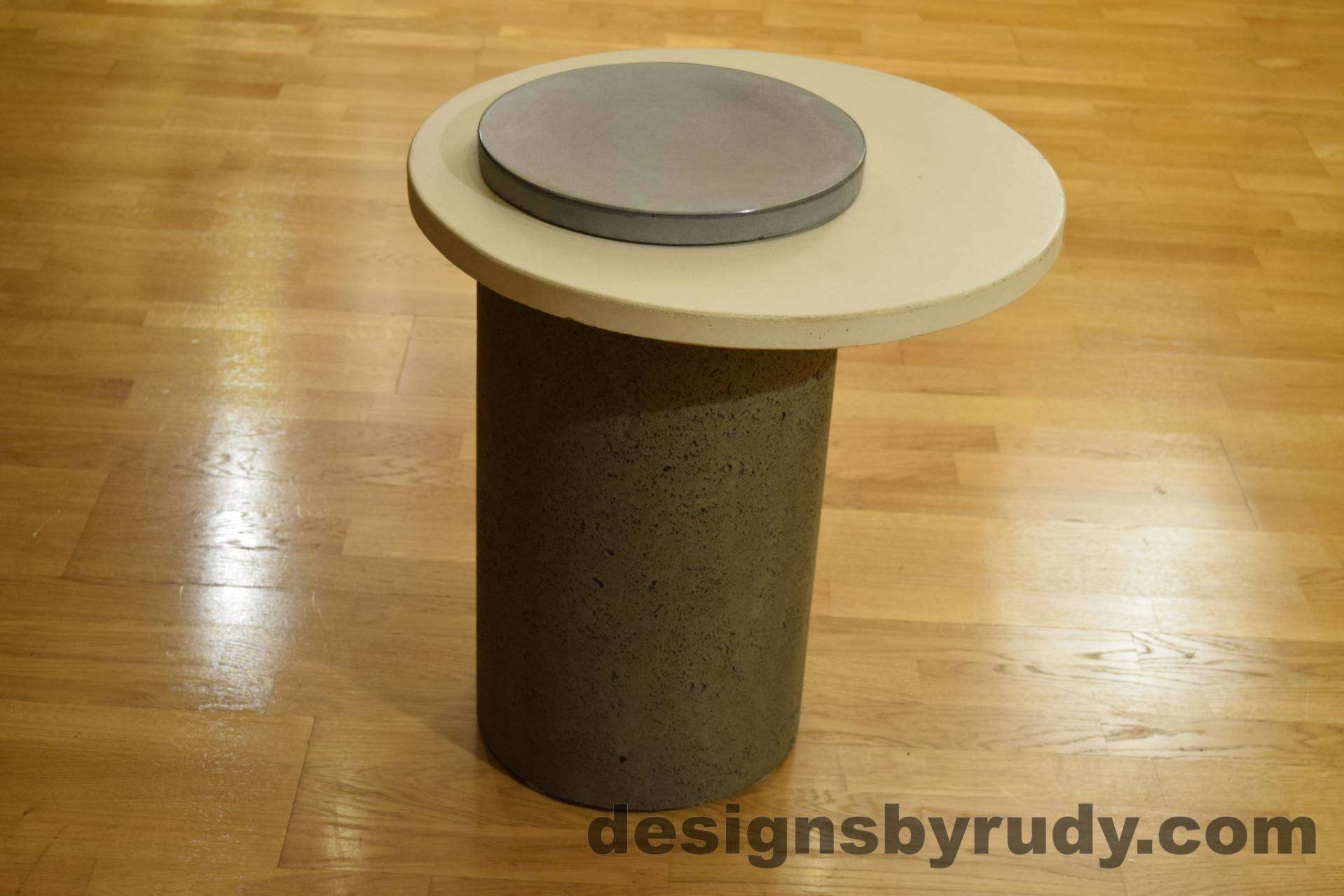 Gray Concrete Side Table, White Top and Gray Cap, Pillars model, Designs by Rudy L