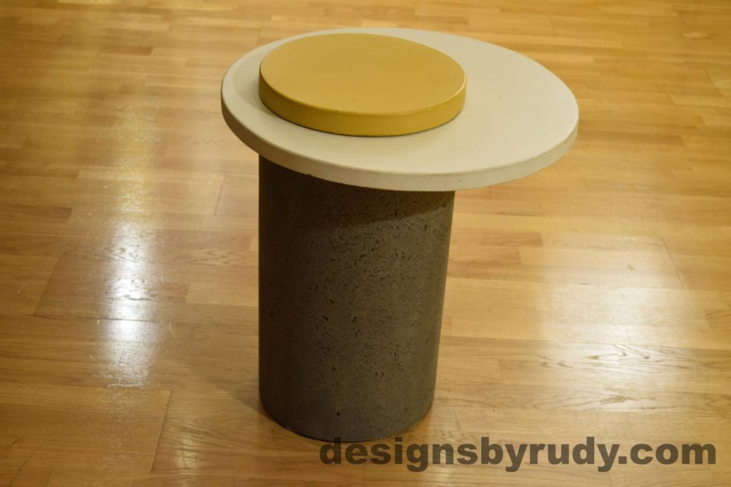 Gray Concrete Side Table, White Top and Yellow Cap, Pillars model, Designs by Rudy L