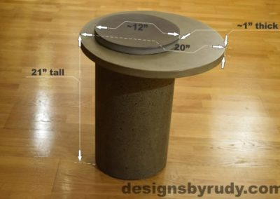 Gray Concrete Side Table dimensions, Pillars model, Designs by Rudy
