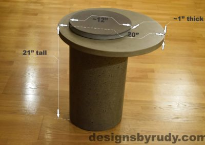 Gray Concrete Side Table dimensions, Pillars model, Designs by Rudy L
