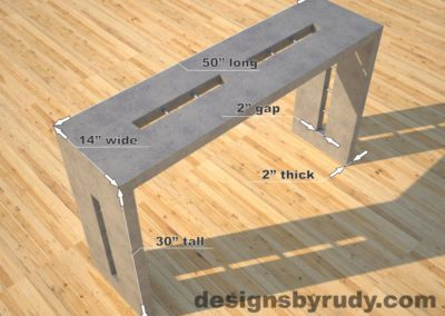Quad Split Gray Concrete Console Table dimensions, Designs by Rudy