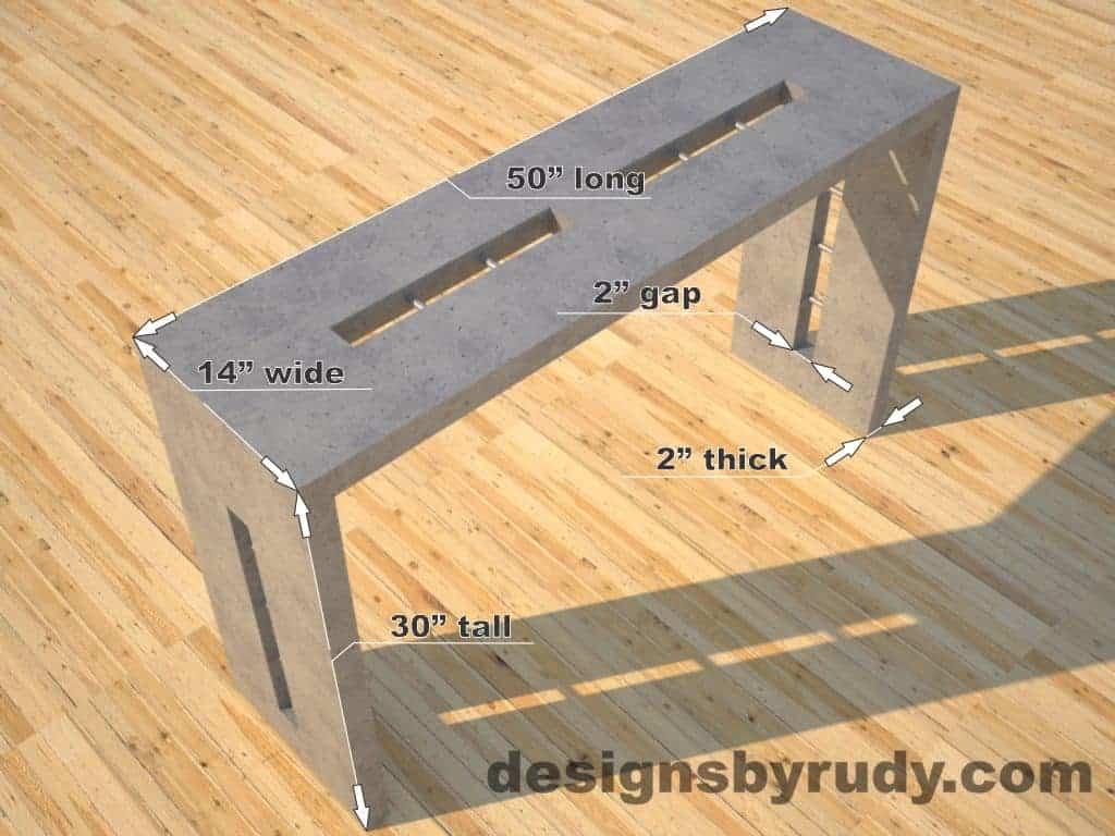 Quad Split Gray Concrete Console Table dimensions, Designs by Rudy