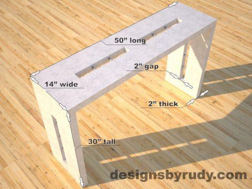 Quad Split White Concrete Console Table dimensions, Designs by Rudy