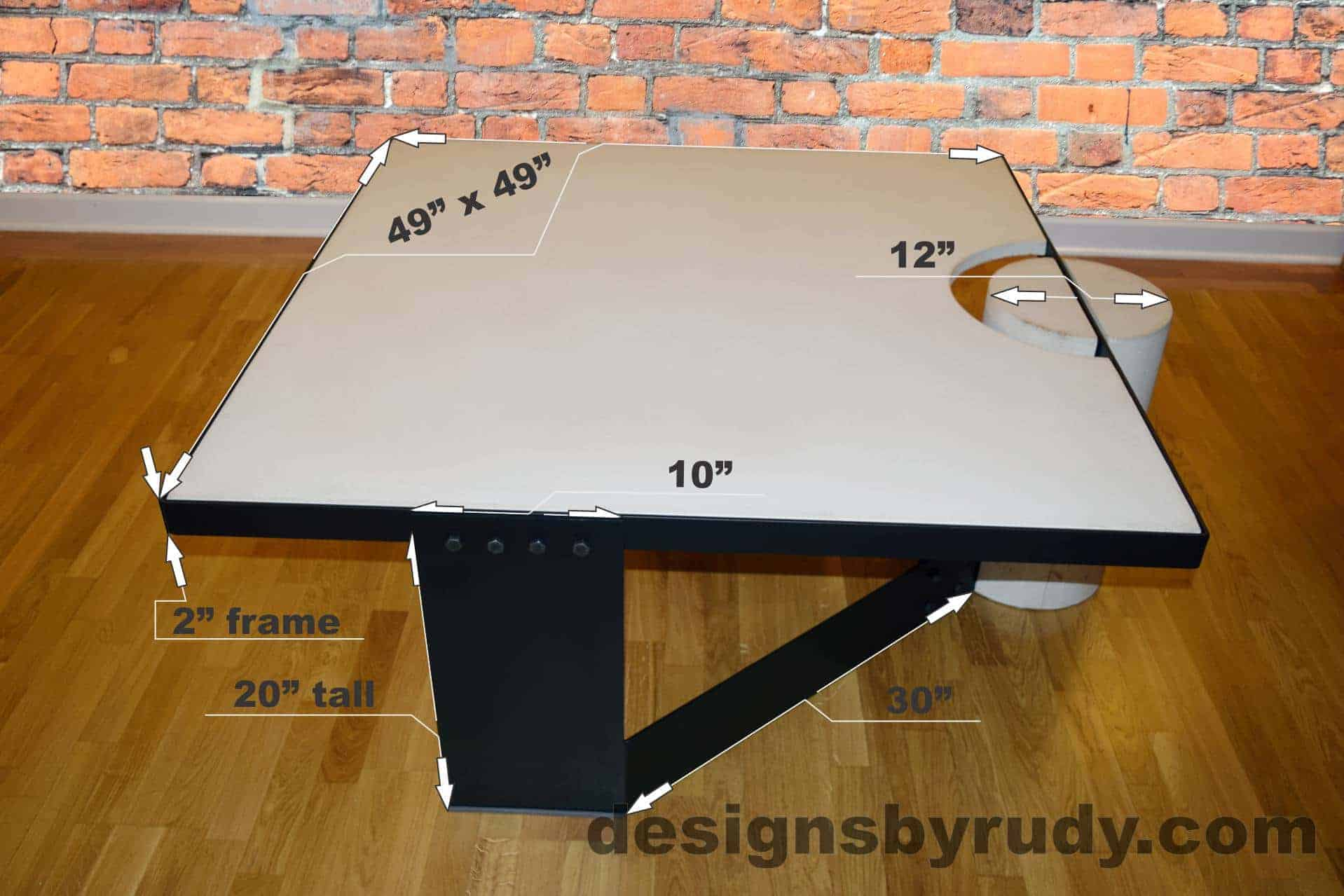 White Concrete Coffee Table, Black Steel Frame, dimensions, Designs by Rudy small