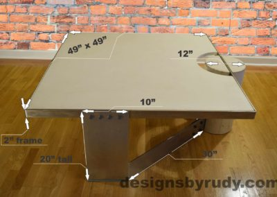 White Concrete Coffee Table, Polished Steel Frame, dimensions, Designs by Rudy L