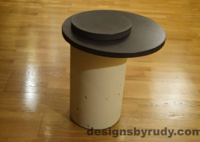 White Concrete Side Table, Charcoal Top and Cap, Pillars model, Designs by Rudy