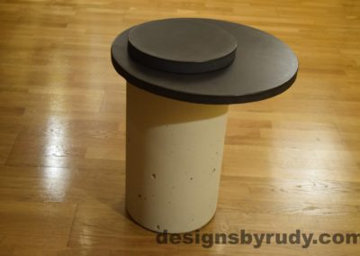 White Concrete Side Table, Charcoal Top and Cap, Pillars model, Designs by Rudy L