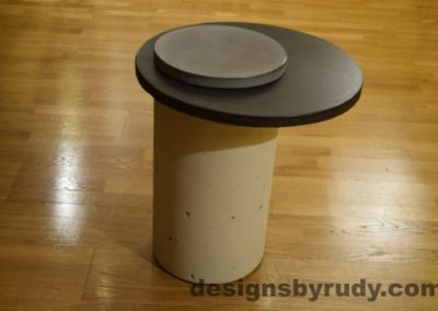 White Concrete Side Table, Charcoal Top and Gray Cap, Pillars model, Designs by Rudy
