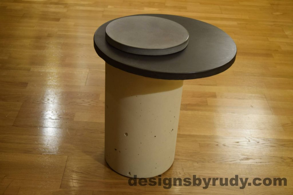 White Concrete Side Table, Charcoal Top and Gray Cap, Pillars model, Designs by Rudy L
