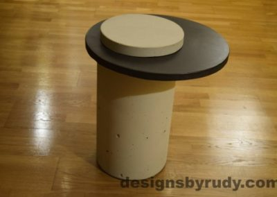 White Concrete Side Table, Charcoal Top and White Cap, Pillars model, Designs by Rudy