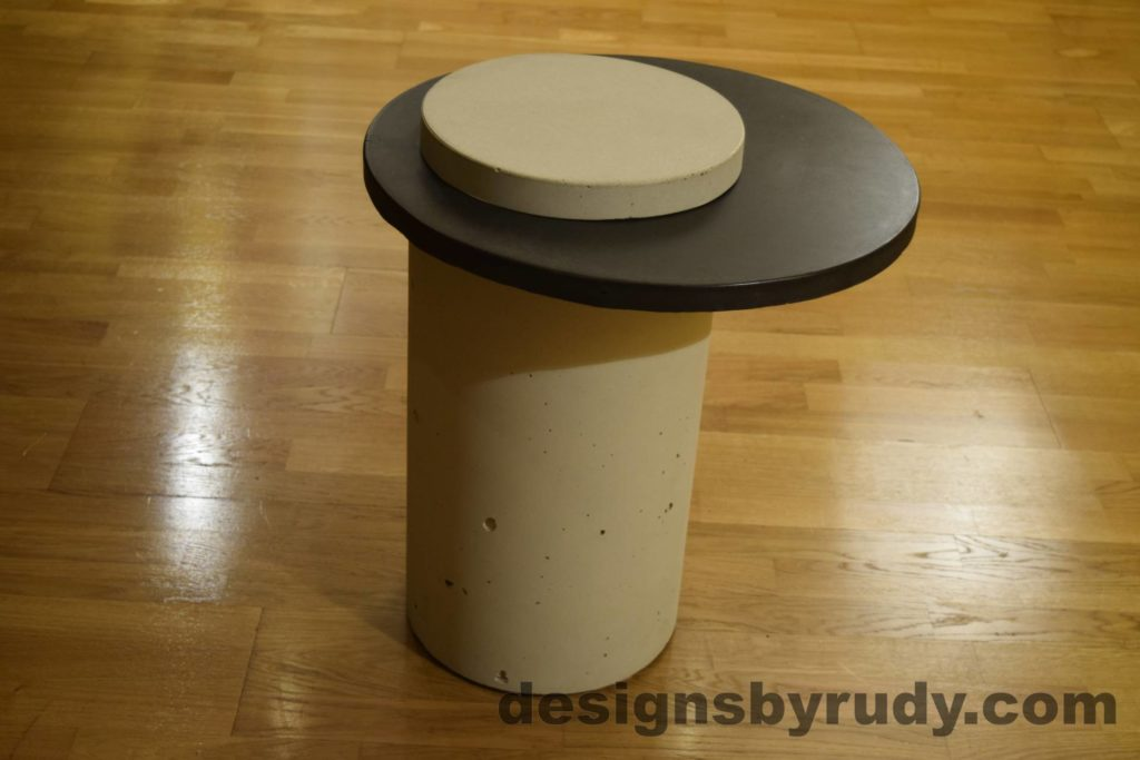 White Concrete Side Table, Charcoal Top and White Cap, Pillars model, Designs by Rudy L