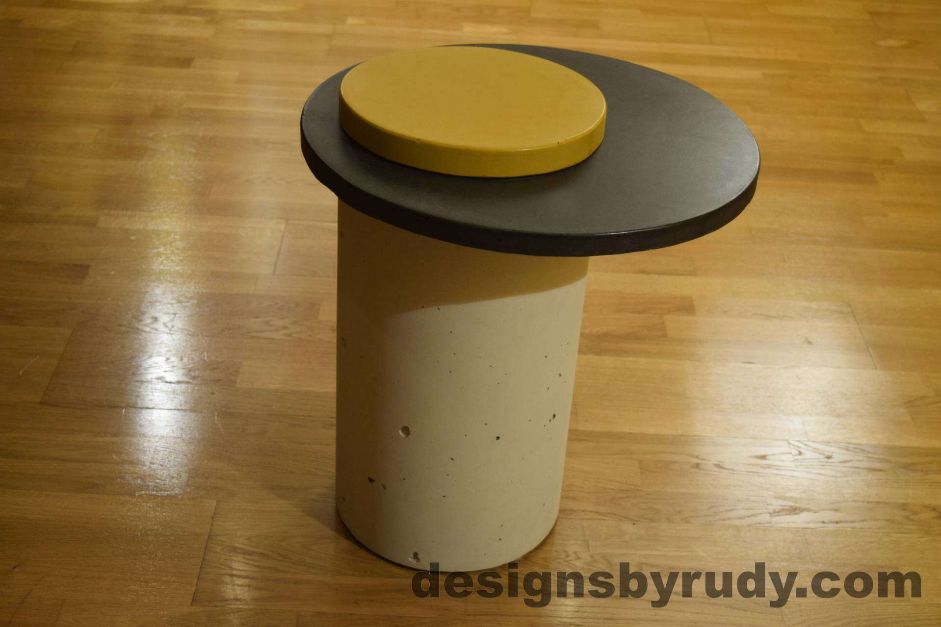 White Concrete Side Table, Charcoal Top and Yellow Cap, Pillars model, Designs by Rudy L