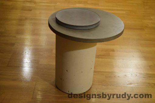 White Concrete Side Table, Gray Top and Cap, Pillars model, Designs by Rudy L