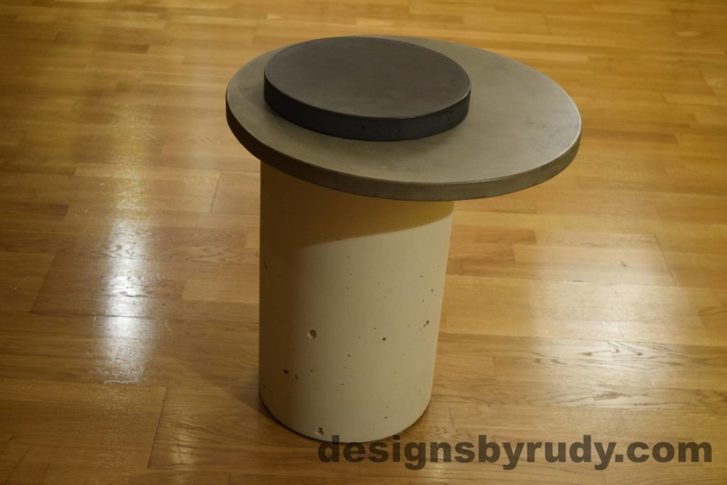 White Concrete Side Table, Gray Top and Charcoal Cap, Pillars model, Designs by Rudy L