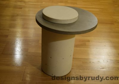 White Concrete Side Table, Gray Top and White Cap, Pillars model, Designs by Rudy L