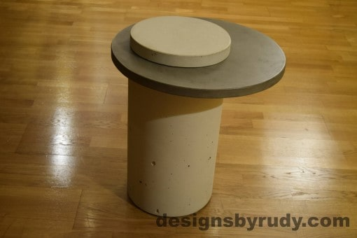 White Concrete Side Table, Gray Top and White Cap, Pillars model, Designs by Rudy