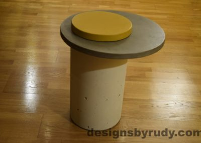 White Concrete Side Table, Gray Top and Yellow Cap, Pillars model, Designs by Rudy L