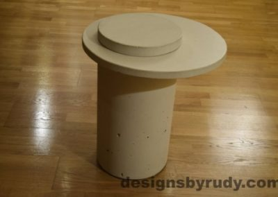 White Concrete Side Table, White Top and Cap, Pillars model, Designs by Rudy