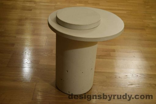 White Concrete Side Table, White Top and Cap, Pillars model, Designs by Rudy L
