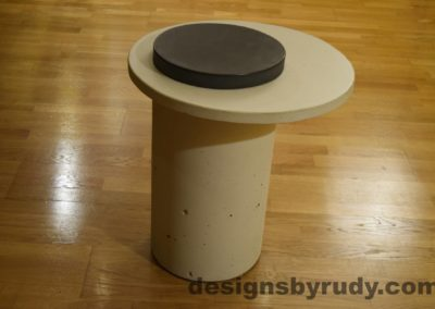 White Concrete Side Table, White Top and Charcoal Cap, Pillars model, Designs by Rudy L