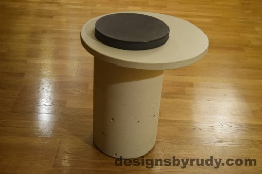White Concrete Side Table, White Top and Charcoal Cap, Pillars model, Designs by Rudy