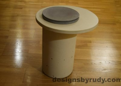 White Concrete Side Table, White Top and Gray Cap, Pillars model, Designs by Rudy L