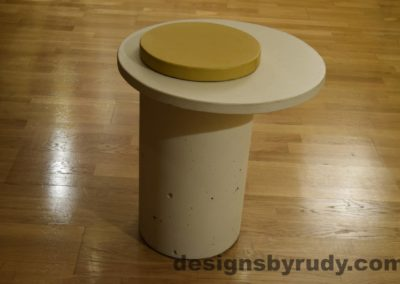 White Concrete Side Table, White Top and Yellow Cap, Pillars model, Designs by Rudy L