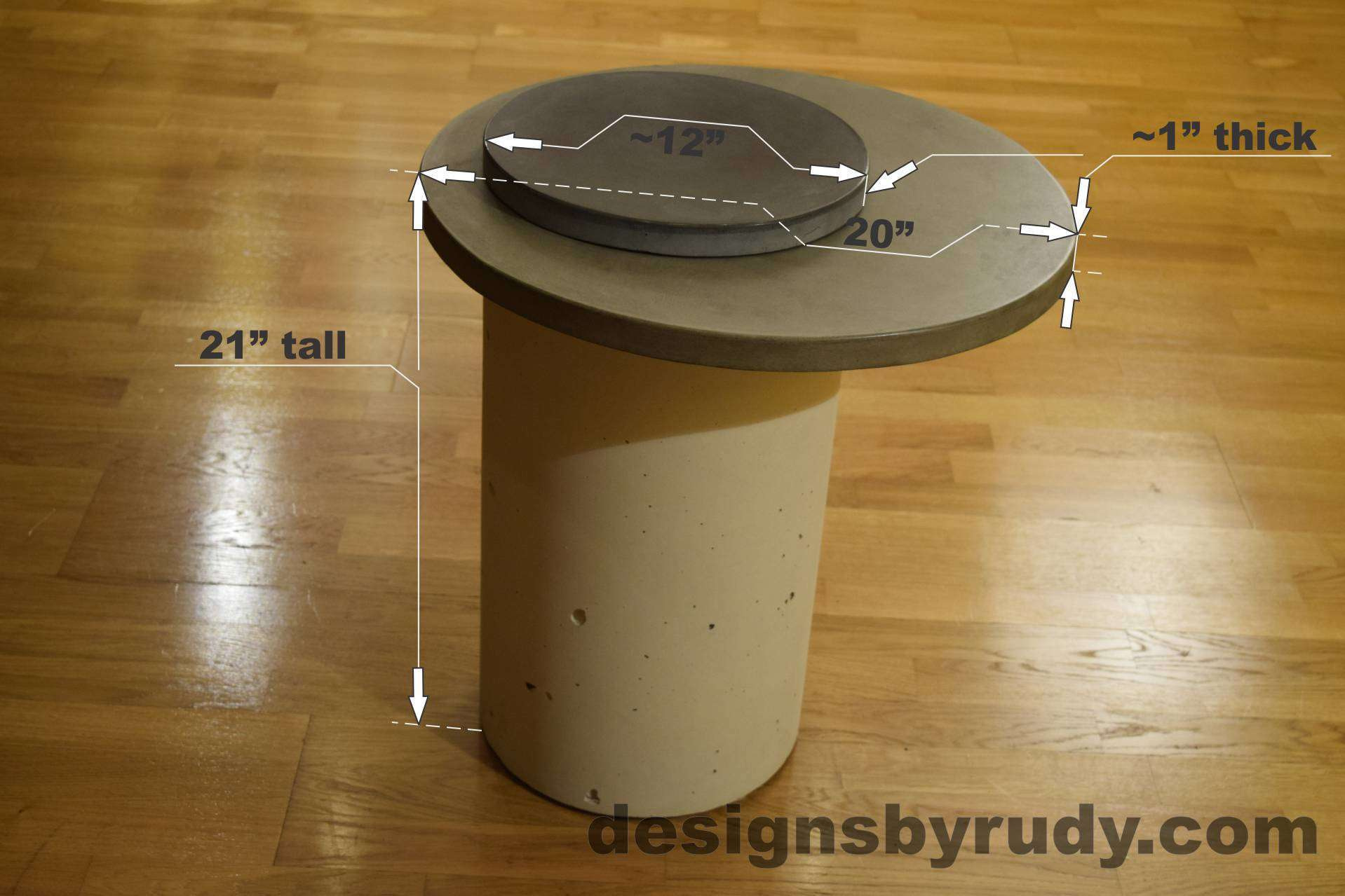 White Concrete Side Table dimensions, Pillars model, Designs by Rudy L
