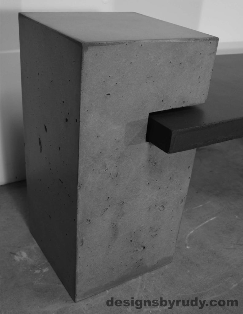 Concrete Bench Large Post with bench top side view, gray concrete. Designs by Rudy