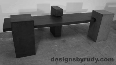 Concrete Bench on three supporting columns, charcoal angle view, configuration 1. Designs by Rudy
