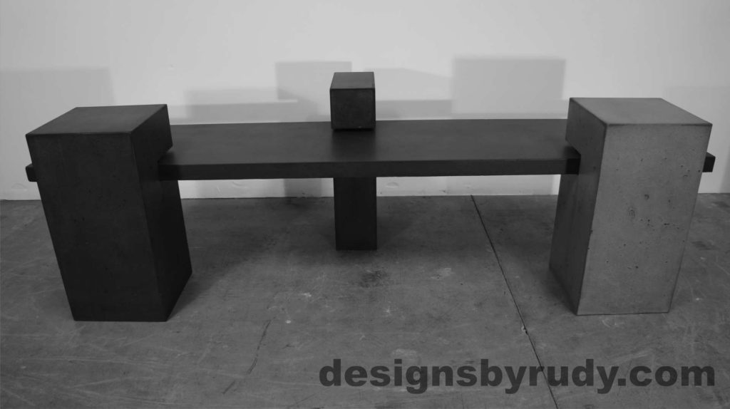 Concrete Bench on three supporting columns, front view, configuration 1. Designs by Rudy