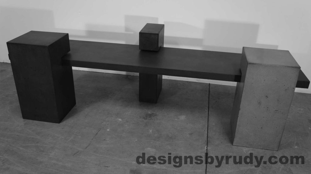 Concrete Bench on three supporting columns, gray angle view, configuration 1. Designs by Rudy