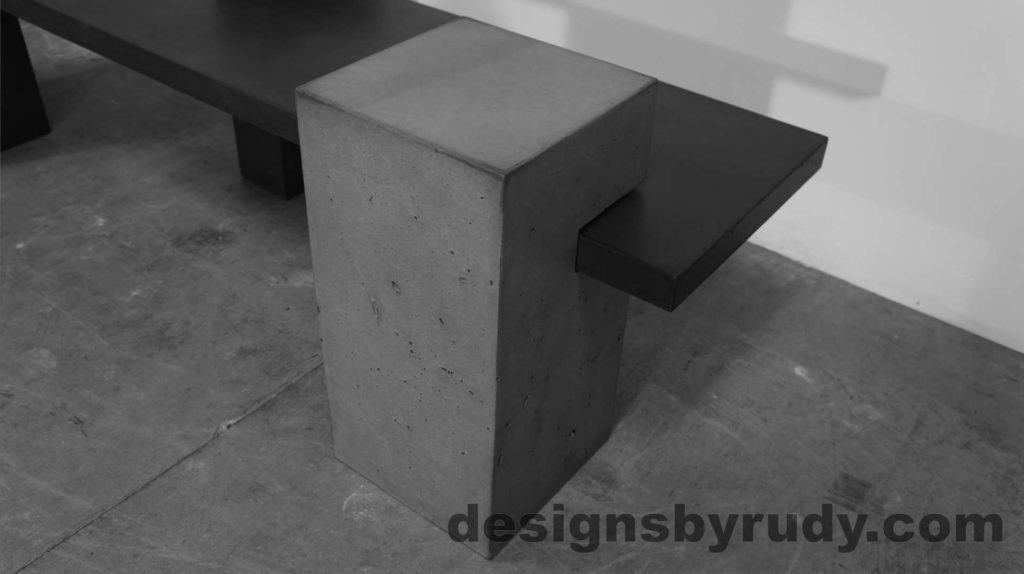 Concrete Bench on three supporting columns, top gray post view, configuration 1. Designs by Rudy