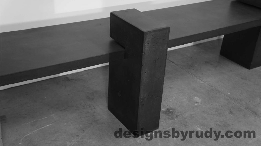Concrete Bench on three supporting columns, top side angle view, center support closeup. Designs by Rudy