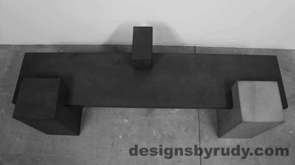 Concrete Bench on three supporting columns, top view 2, configuration 1. Designs by Rudy