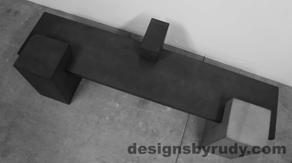 Concrete Bench on three supporting columns, top view, configuration 1. Designs by Rudy