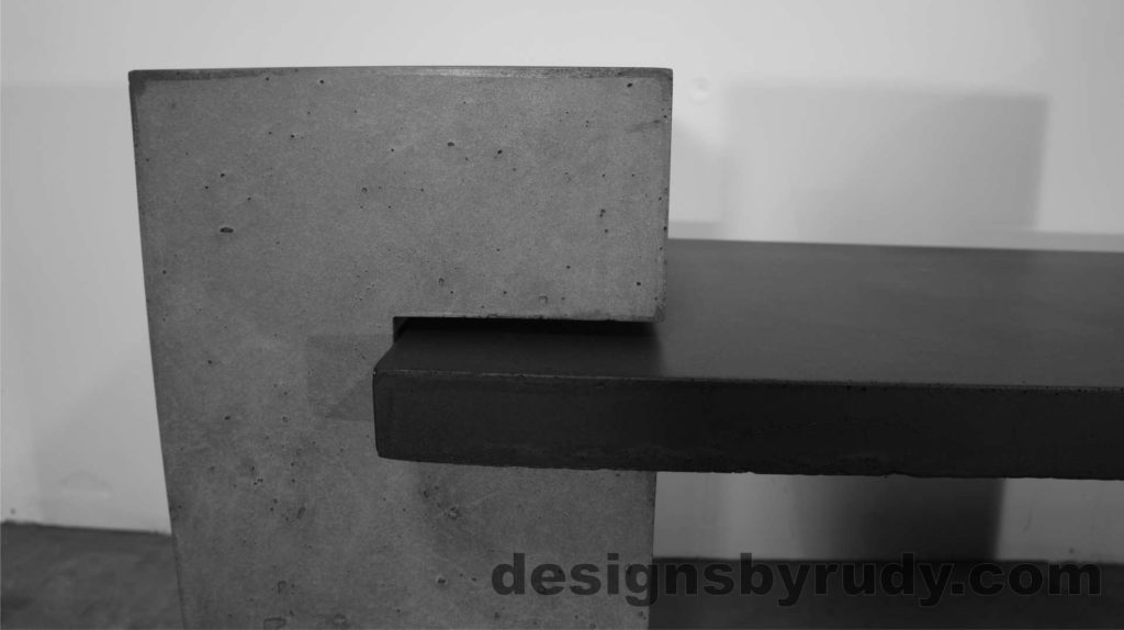 Concrete Bench Large Gray Post with bench top side view. Designs by Rudy