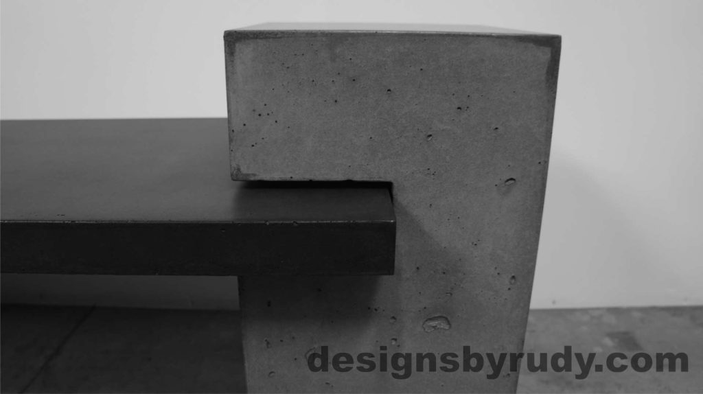 Concrete Bench Gray Large Post with bench top, side view 2. Designs by Rudy