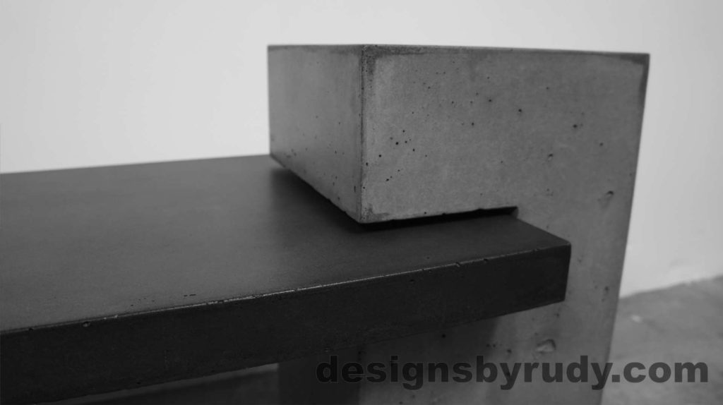 Concrete Bench Gray Large Post with bench top, side view. Designs by Rudy