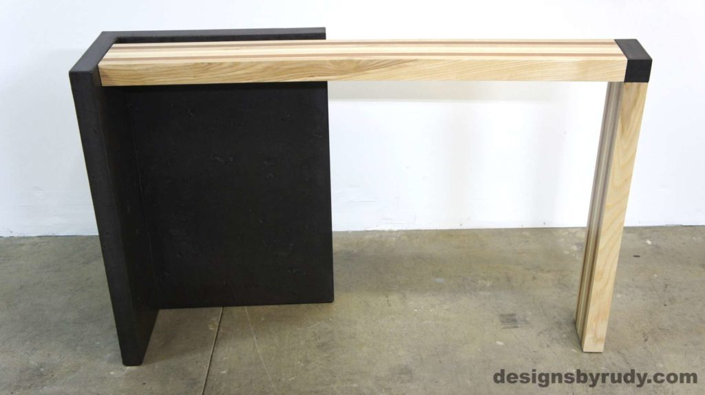 Right curve concrete console table with wooden top full front view, Designs by Rudy