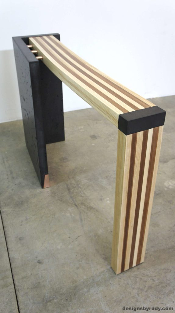 Left curve conrete console table angle right view, Designs by Rudy